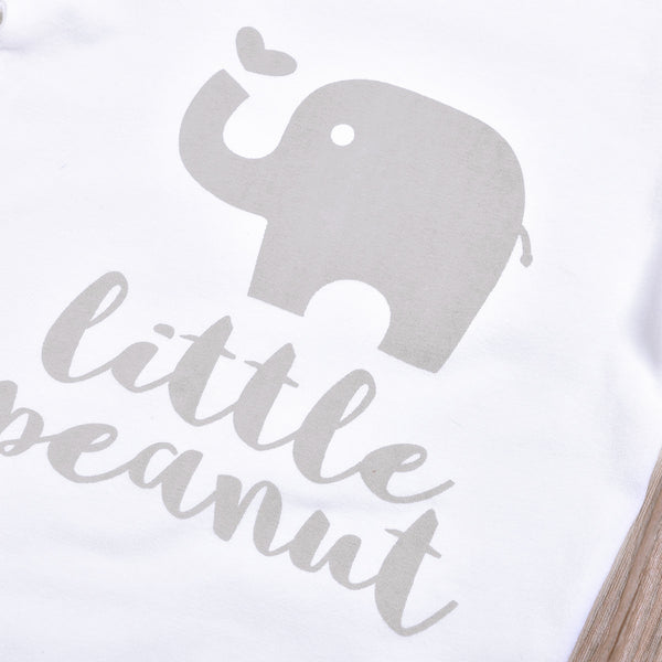 3-piece Baby LITTLE PEANUT Elephant Bodysuit and Pants with Hat Set