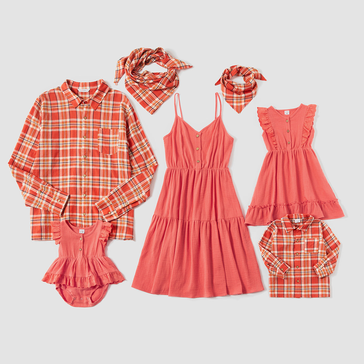 Mosaic Family Matching 100% Cotton Sets in Autumn(Flounce Tank Dresses - Plaid Polo Shirts - Rompers)