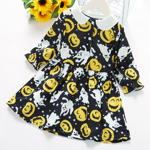 Baby / Toddler Girl Halloween Pumpkin Pattern Stars Print Doll Collar Long-sleeve Dress