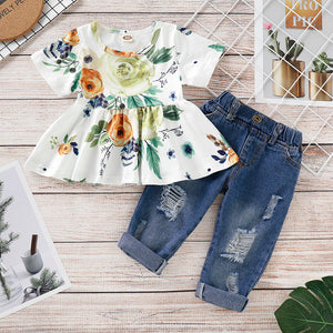 Baby/ Toddler Girl's Floral Allover Ruffled Dress and Frayed Jeans