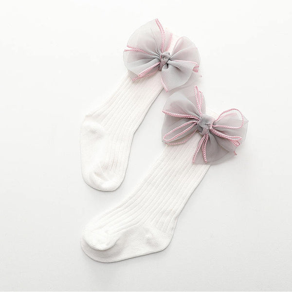 Baby/ Toddler Girl's Tulle Bowknot Decor Ribbed Stockings