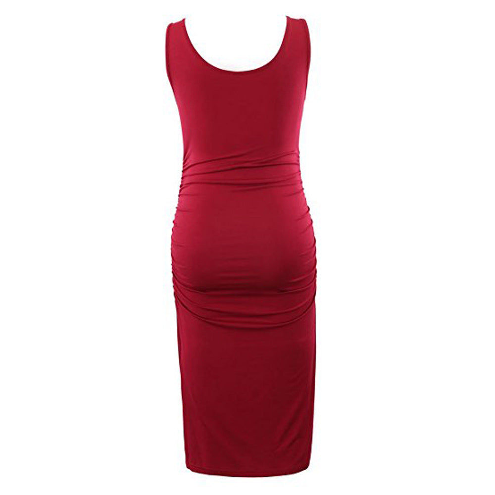 Pretty Solid Sleeveless Maternity Dress