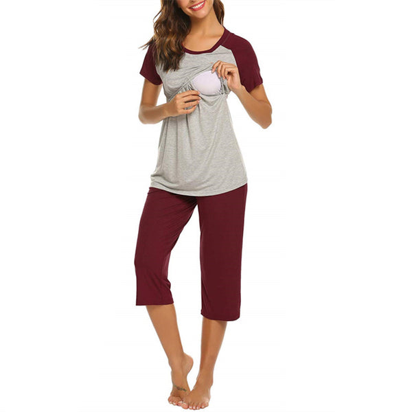 2-piece Pretty Color Block Nursing Pajama Set