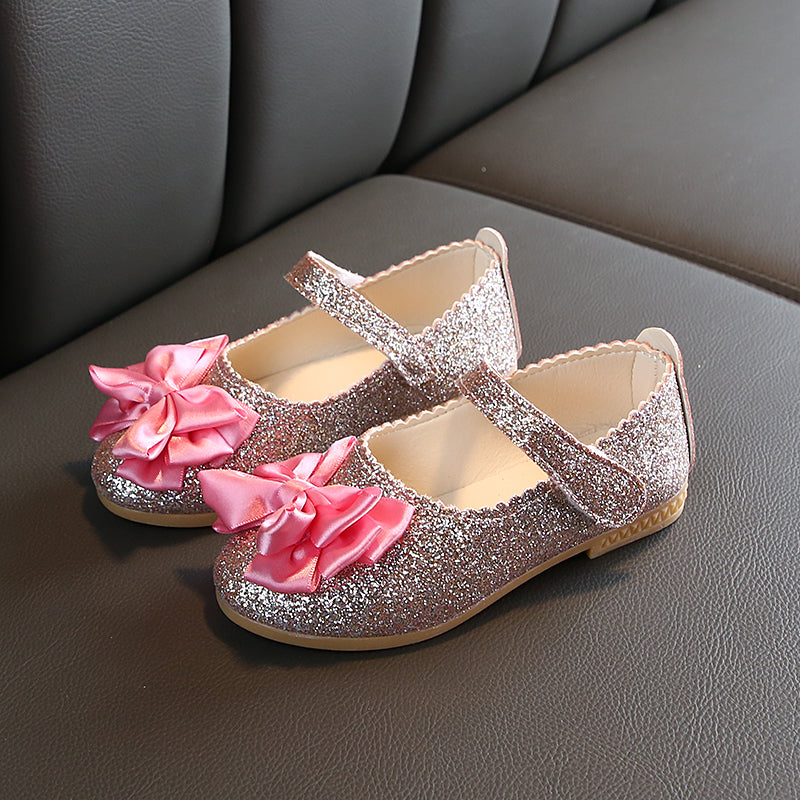 Toddler Elegant Sequined Allover Bowknot Decor Velcro Princess Dancing Mary Jane Shoes