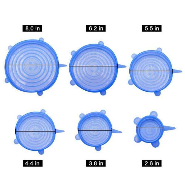 6 Pcs Silicone Fresh-keep Food Covers