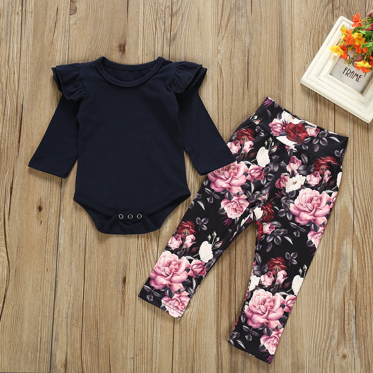 Baby Girl Solid Layered Shoulder Bodysuit and Floral Pants Set
