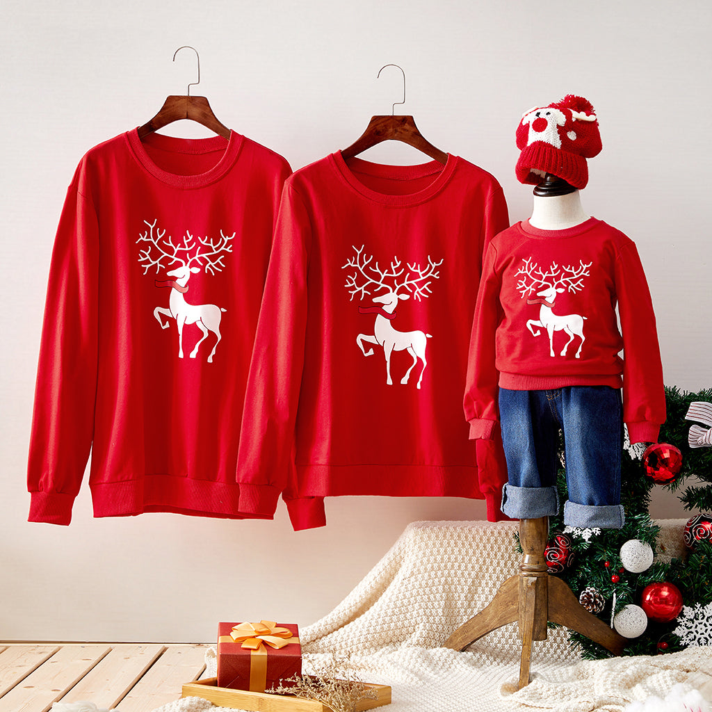 Christmas Elk Graphic 100% Cotton Family Matching Sweatshirts