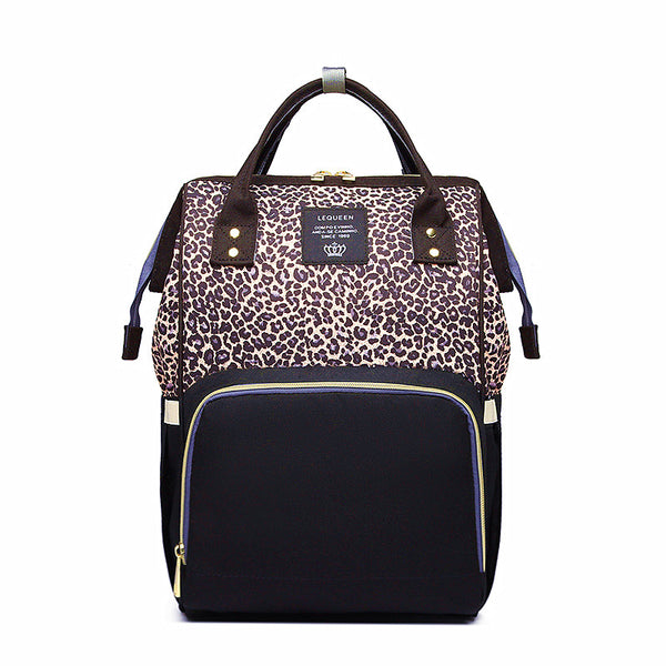 LEQUEEN Leopard Multi-functional Large Capacity Diaper Bag Backpack