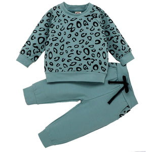 Baby / Toddler Boy Leopard Sweatshirt and Tie-up Pants Sets