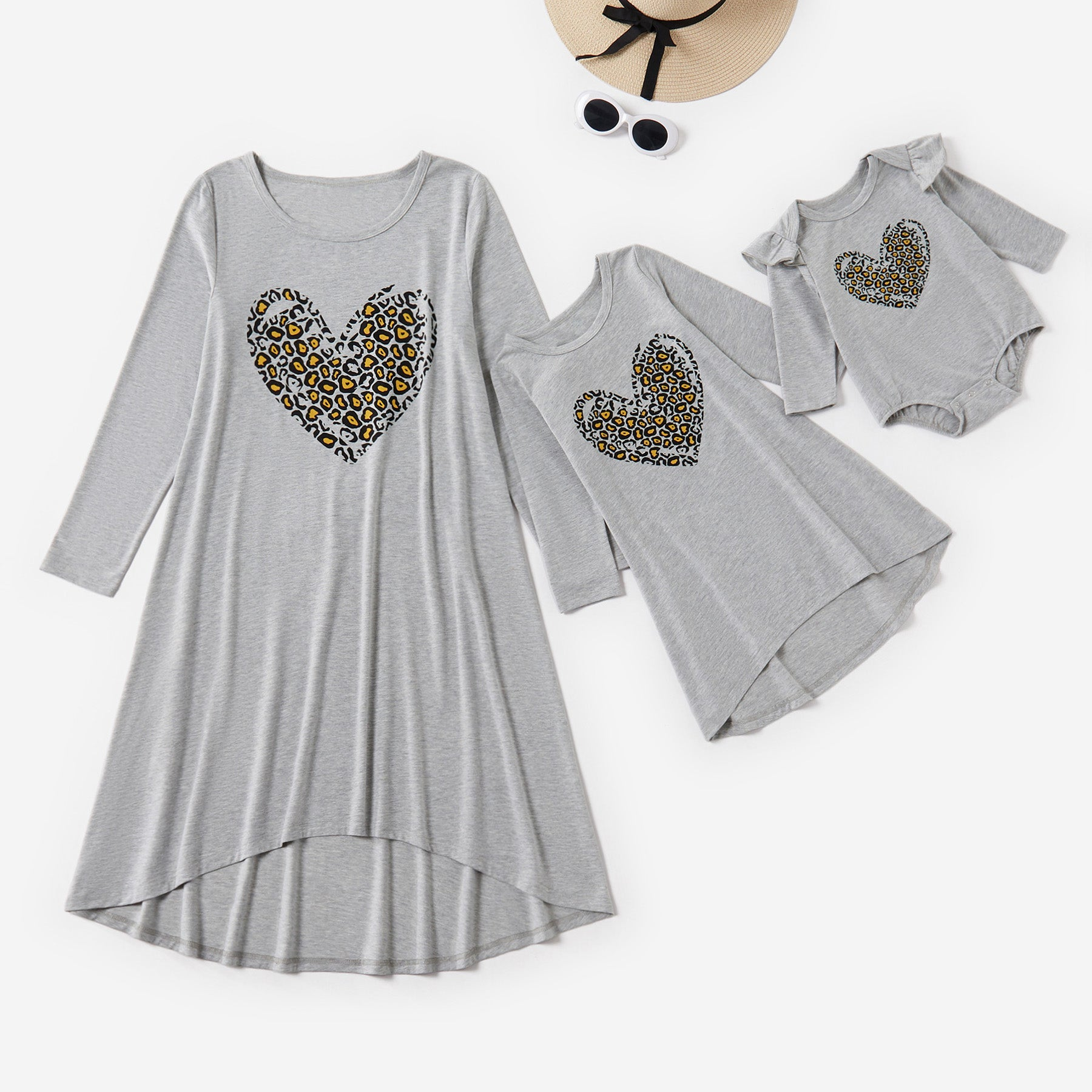 Mosaic Mommy and Me Leopard Print Love Heart Dresses