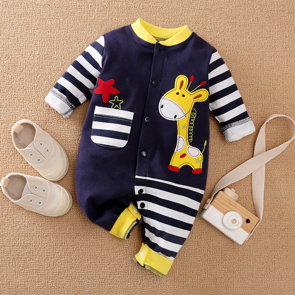 Baby Boy / Girl Cute Giraffe Embroidery Stripe Design Long-sleeve Jumpsuit
