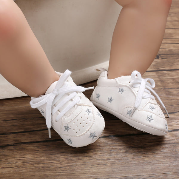 Baby / Toddler Valentine Pretty Stars Embroidery Solid Prewalker Shoes (Various colors)