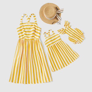 Striped Fitted Tank Dresses for Mommy and Me