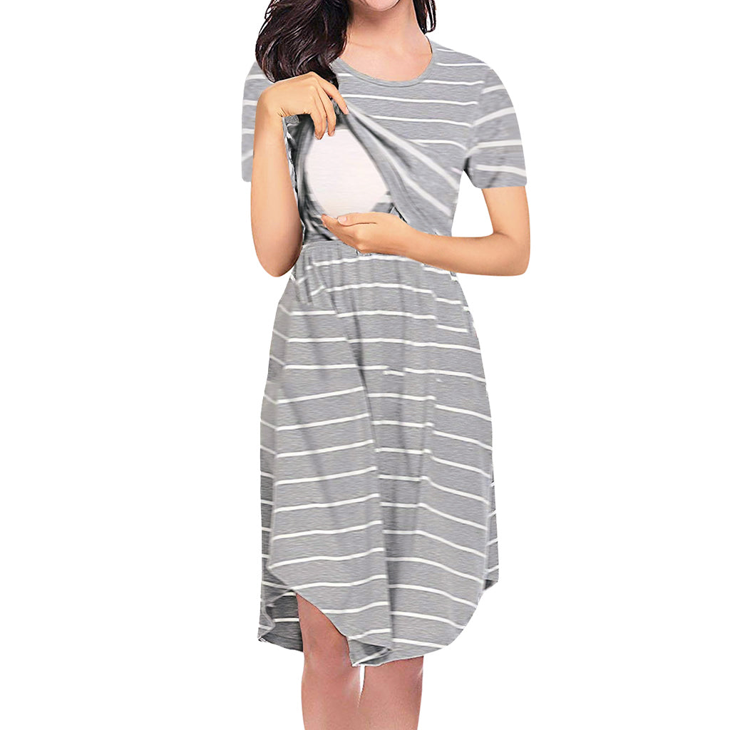 Casual Striped Short-sleeve Nursing Dress
