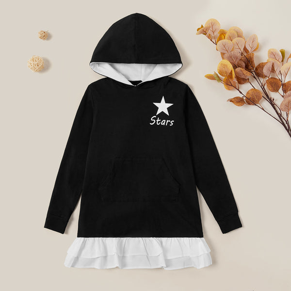 Fashionable Sporty Hooded Solid Dress