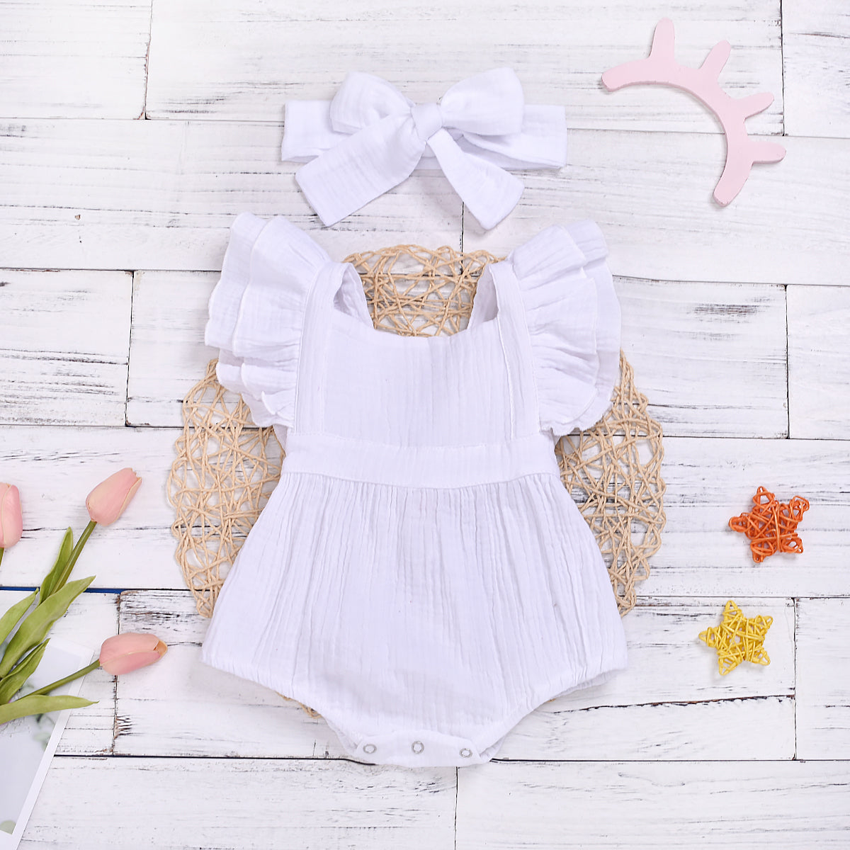 Baby Girl Solid Sleeveless Romper