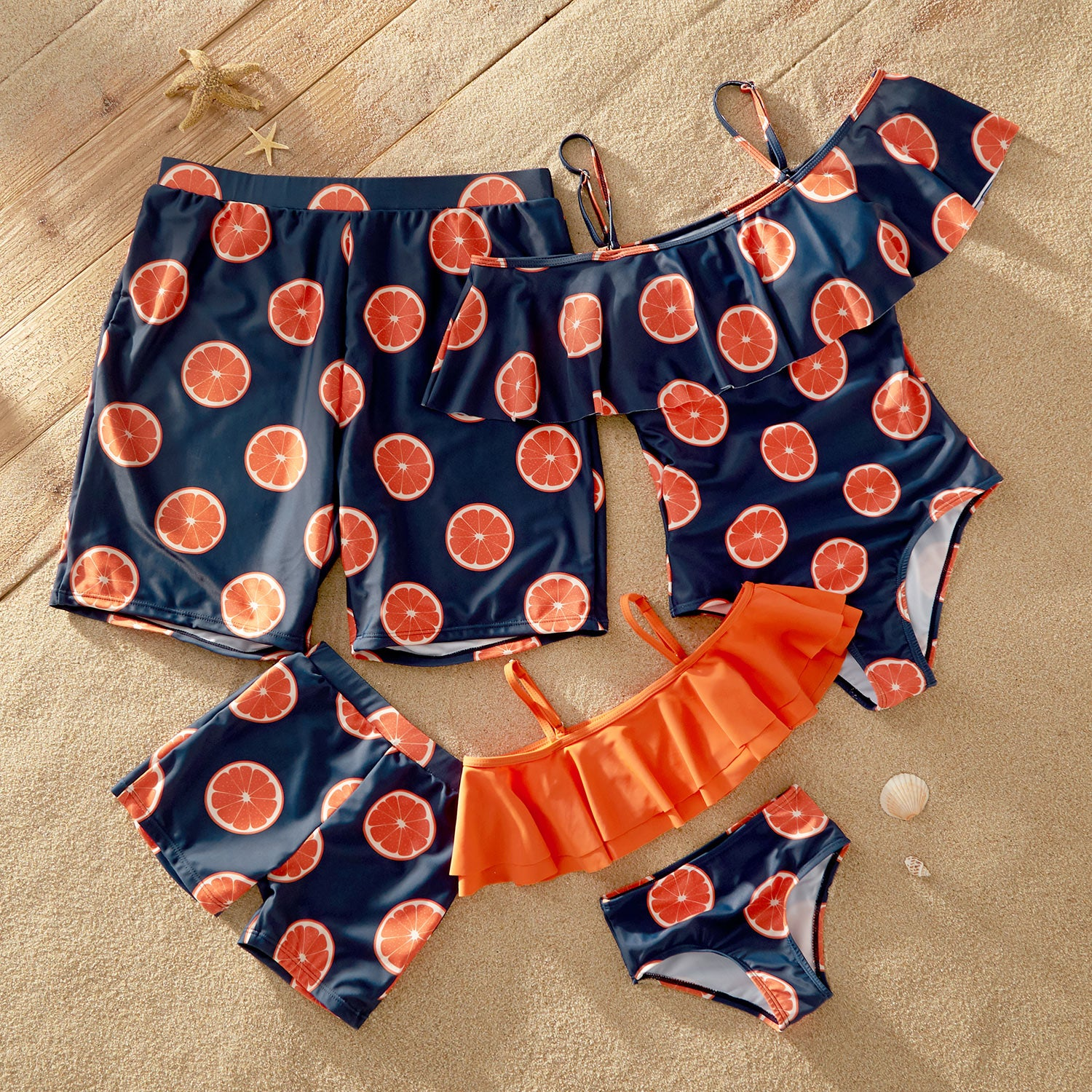 Off-shoulder Flounce Grapefruit Print Matching Family Swimsuits