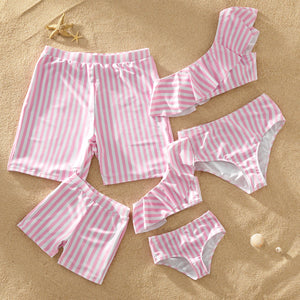 One-shoulder Flounce Striped Print Matching Swimsuits