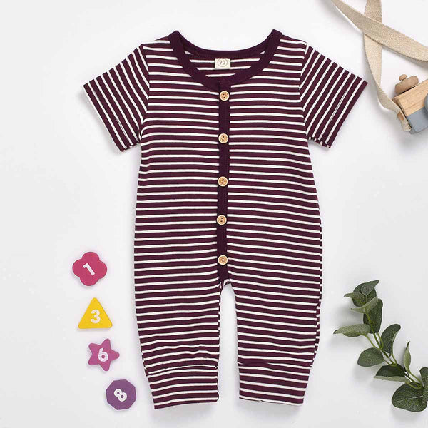 Baby Boy Stripe Short-sleeve Jumpsuit
