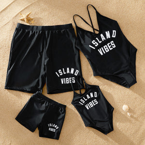 Trendy Sport Letter Print Matching Swimsuits