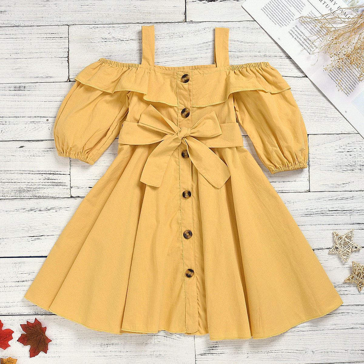 Baby / Toddler Girl Casual Solid Bowknot Dress