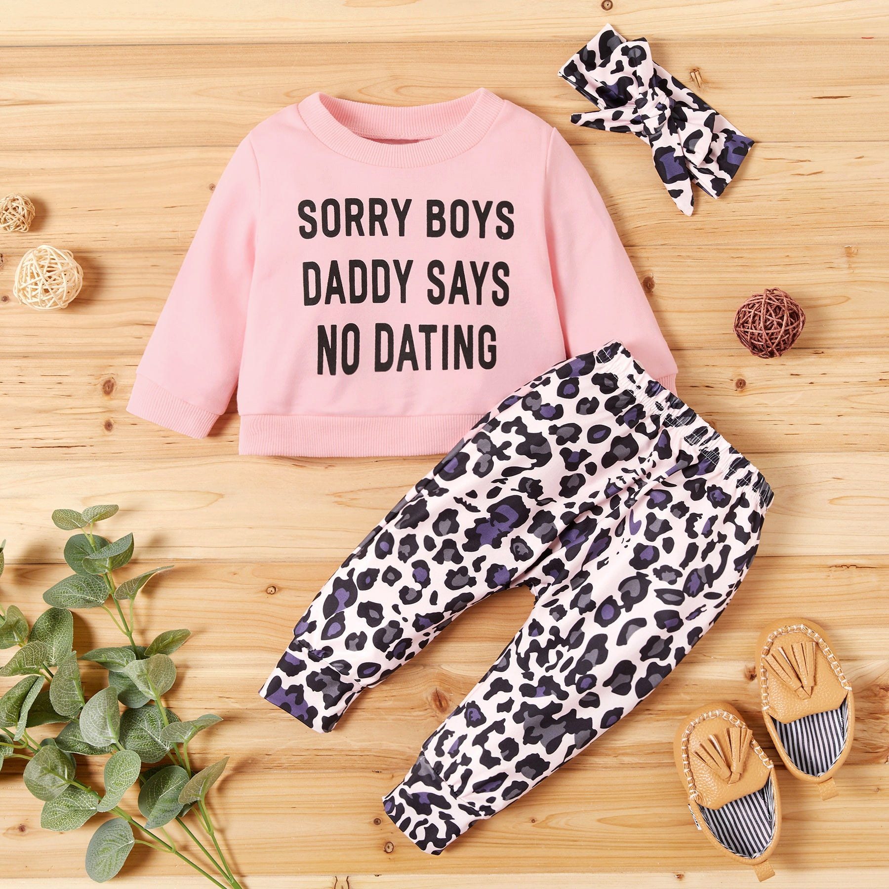 Baby Girl Letter Print Top and Leopard Pants with Headband Set