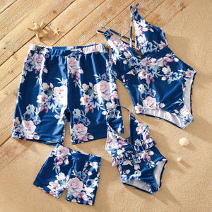 Tropical Floral Print Matching Swimsuits
