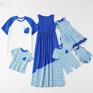 Mosaic Pinstriped Family Matching Sibling Cotton Tee Rompers Tank Twirl Dresses