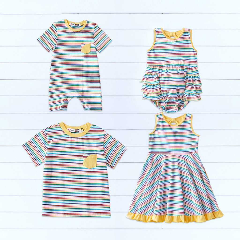 Mosaic Pinstriped Family Matching Cotton Sibling Tee Rompers Twirl Dresses