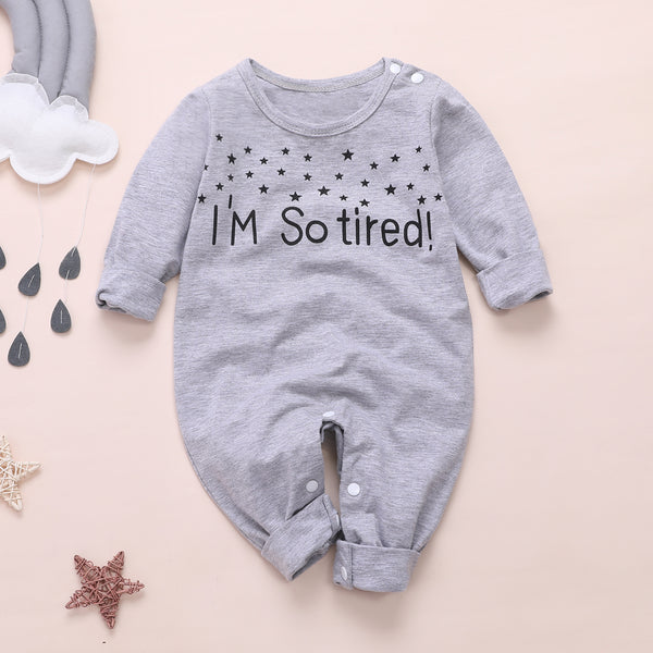 Baby I'M SO TIRED Letter Print Jumpsuit