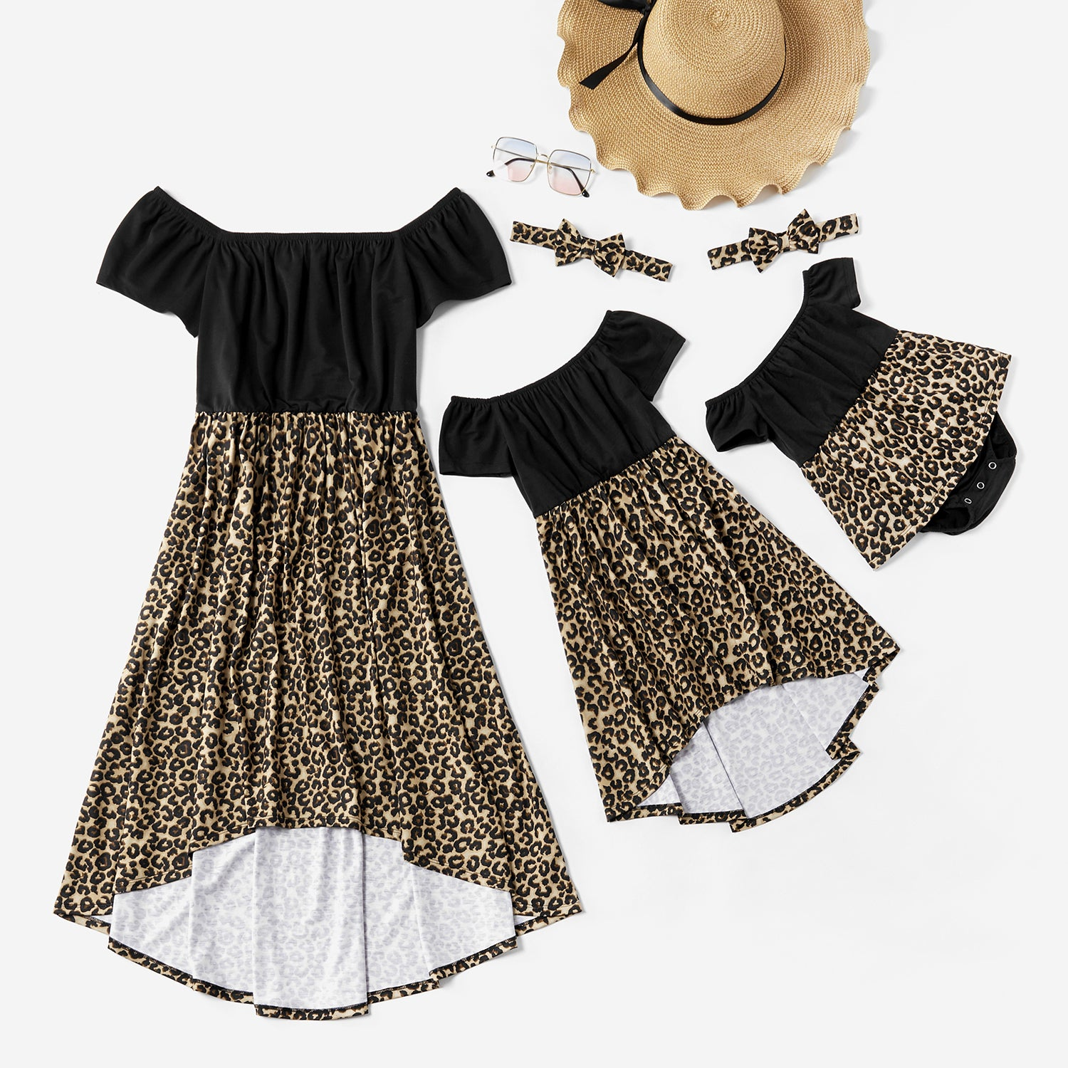 Mosaic Mommy and Me Off Shoulder Leopard Pattern Dresses Sisters Romper