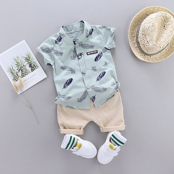 Leaf Print Short-sleeve Shirt and Pants Set