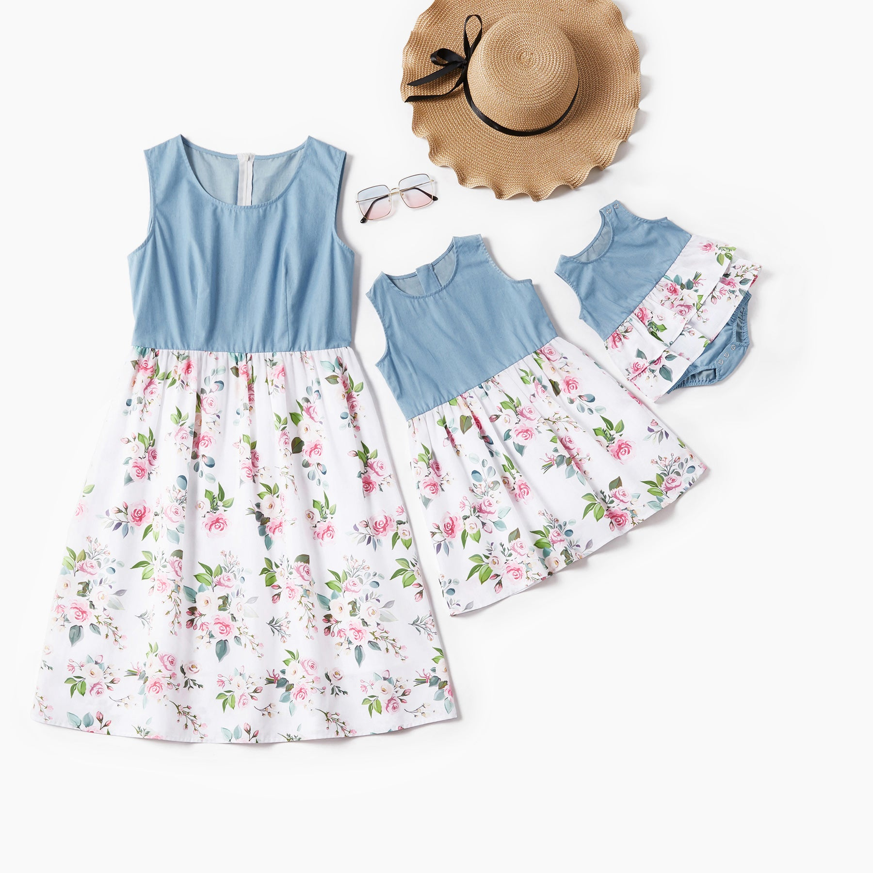 Mosaic Mommy and Me Cotton Floral Denim Tank Dresses