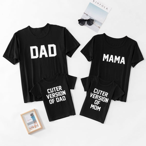 Letter Printed Family Matching Short-sleeve Black T-shirts
