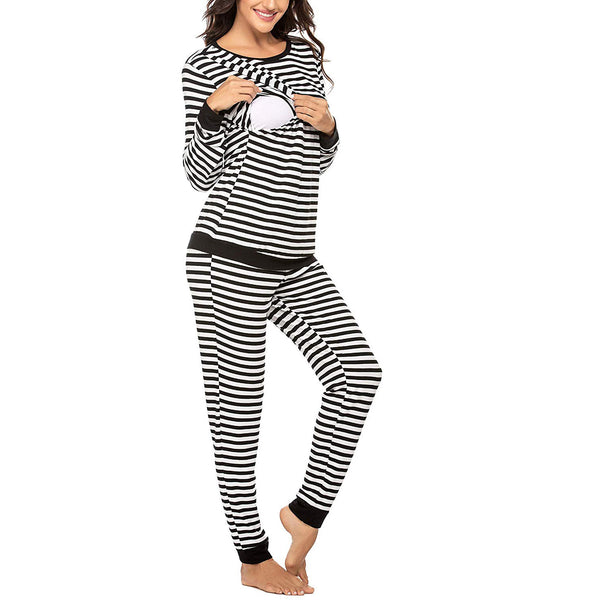 Cozy Striped Long-sleeve Nursing Pajamas Set