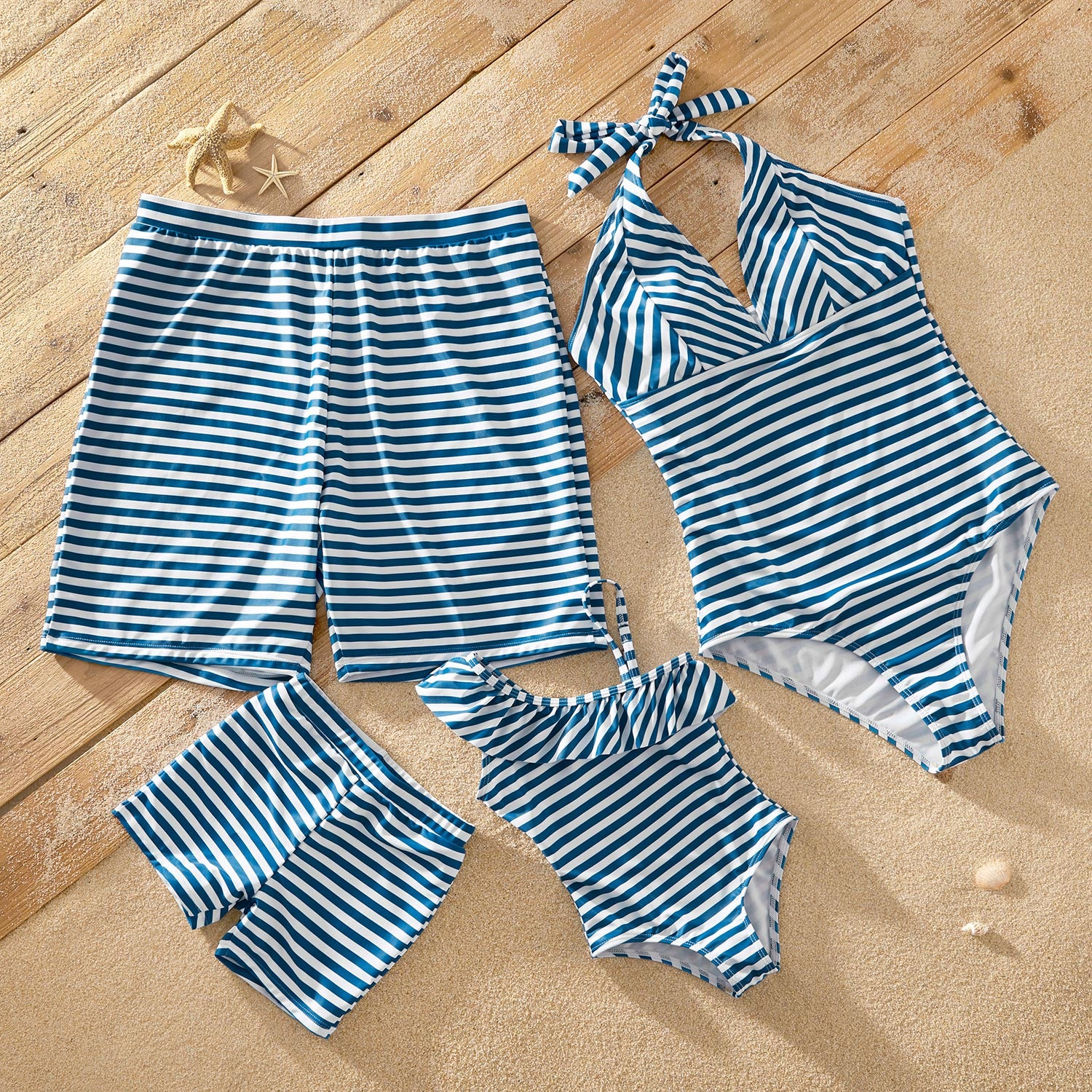 Hit Summer Striped Print Matching Swimsuits
