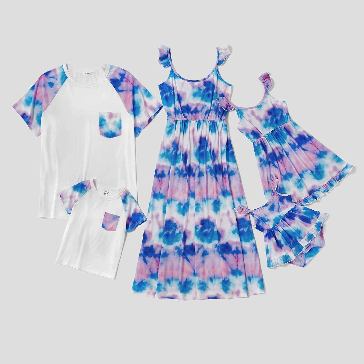 Mosaic Family Matching Tie-Dye Flutter-sleeve Tank Dresses and Colorblock Tops