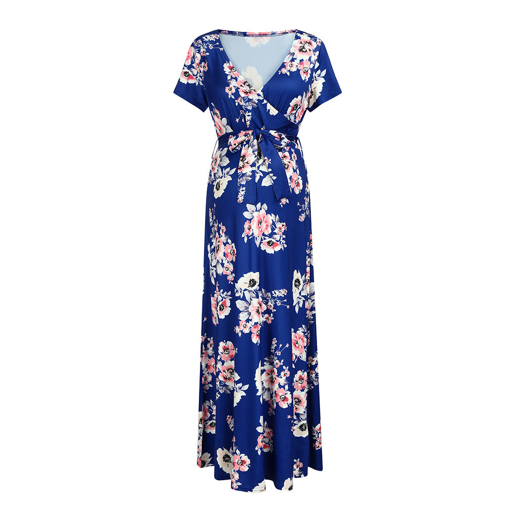 Trendy Floral Print Short-sleeve Maternity Maxi Dress