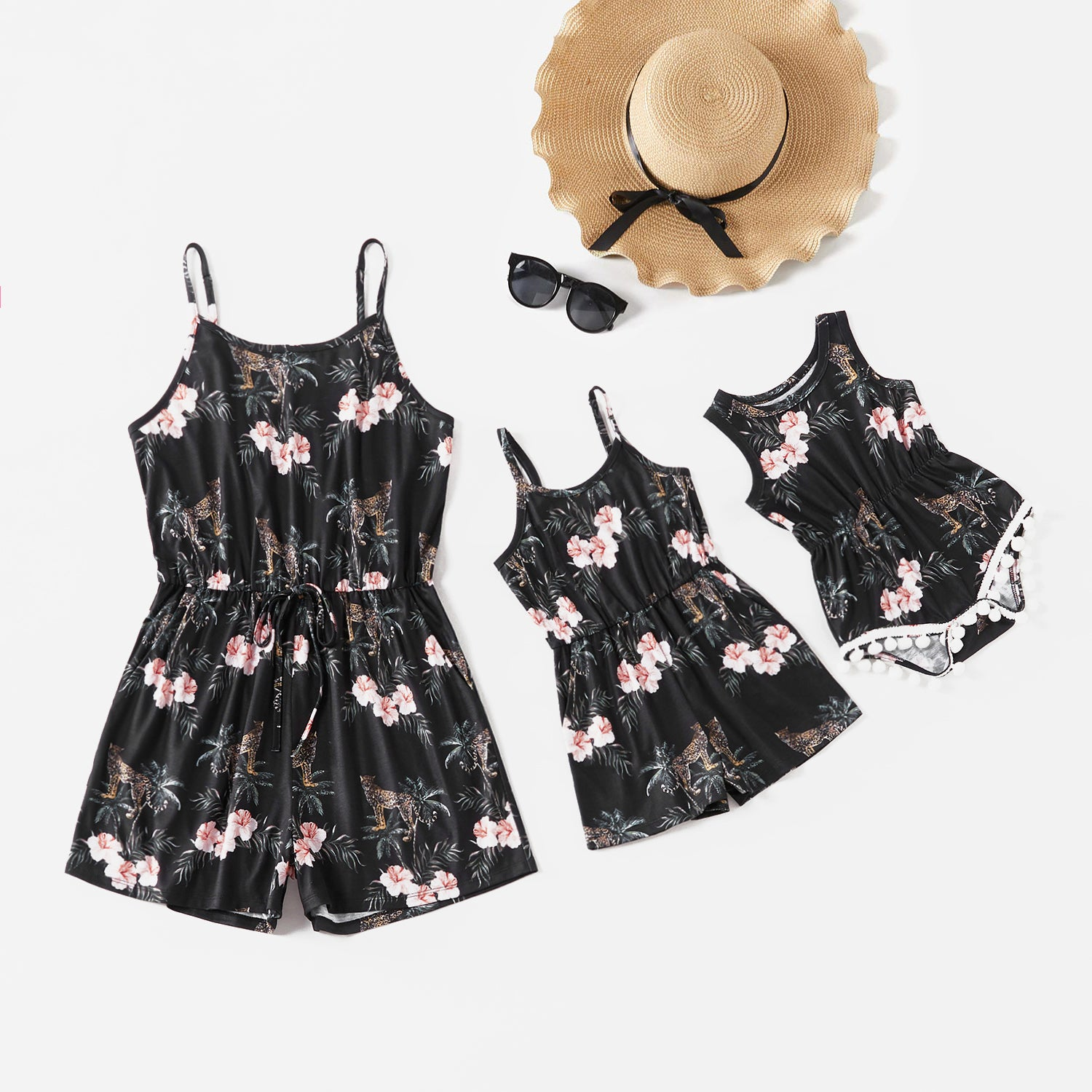 Mommy and Me Floral Print Sling Short Jumpsuits