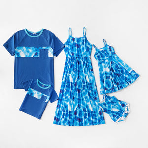 Mosaic Family Matching Tie-Dye Tank Dresses Colorblock Tops for Dad-Mom-Boy-Girl-Baby