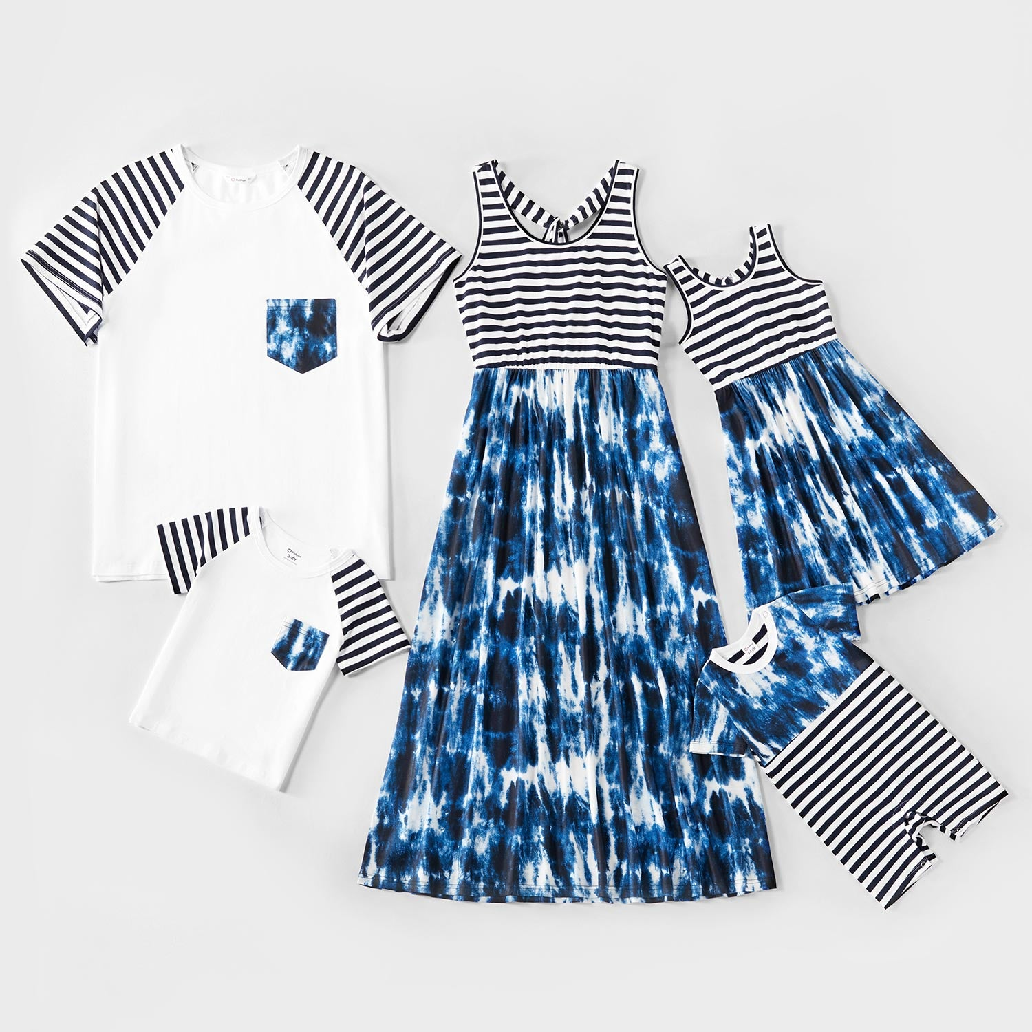 Mosaic Family Matching Stripe Tie-Dye Tank Dresses Tees for Dad-Mom-Boy-Girl-Baby
