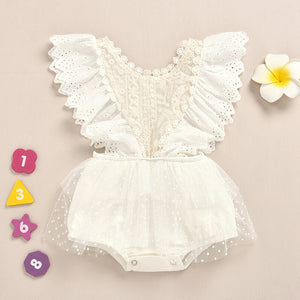 Baby Flounced Lace Decor Bodysuit