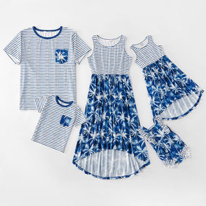 Mosaic Family Matching Coconut Tree Tank Dresses Stripe T-shirts and Ruffled Rompers