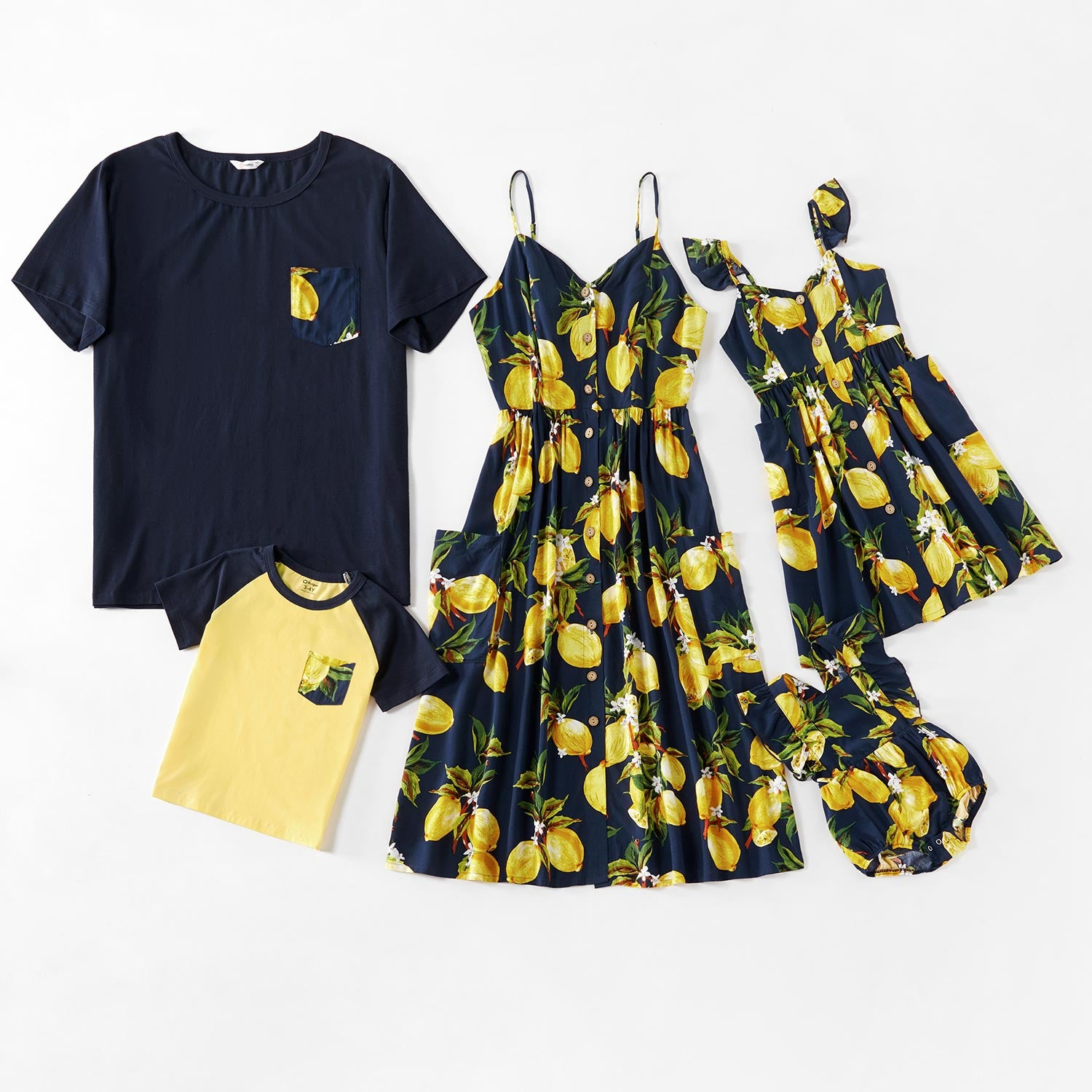 Mosaic Family Matching Lemon Series Tank Dresses - Rompers - Tops