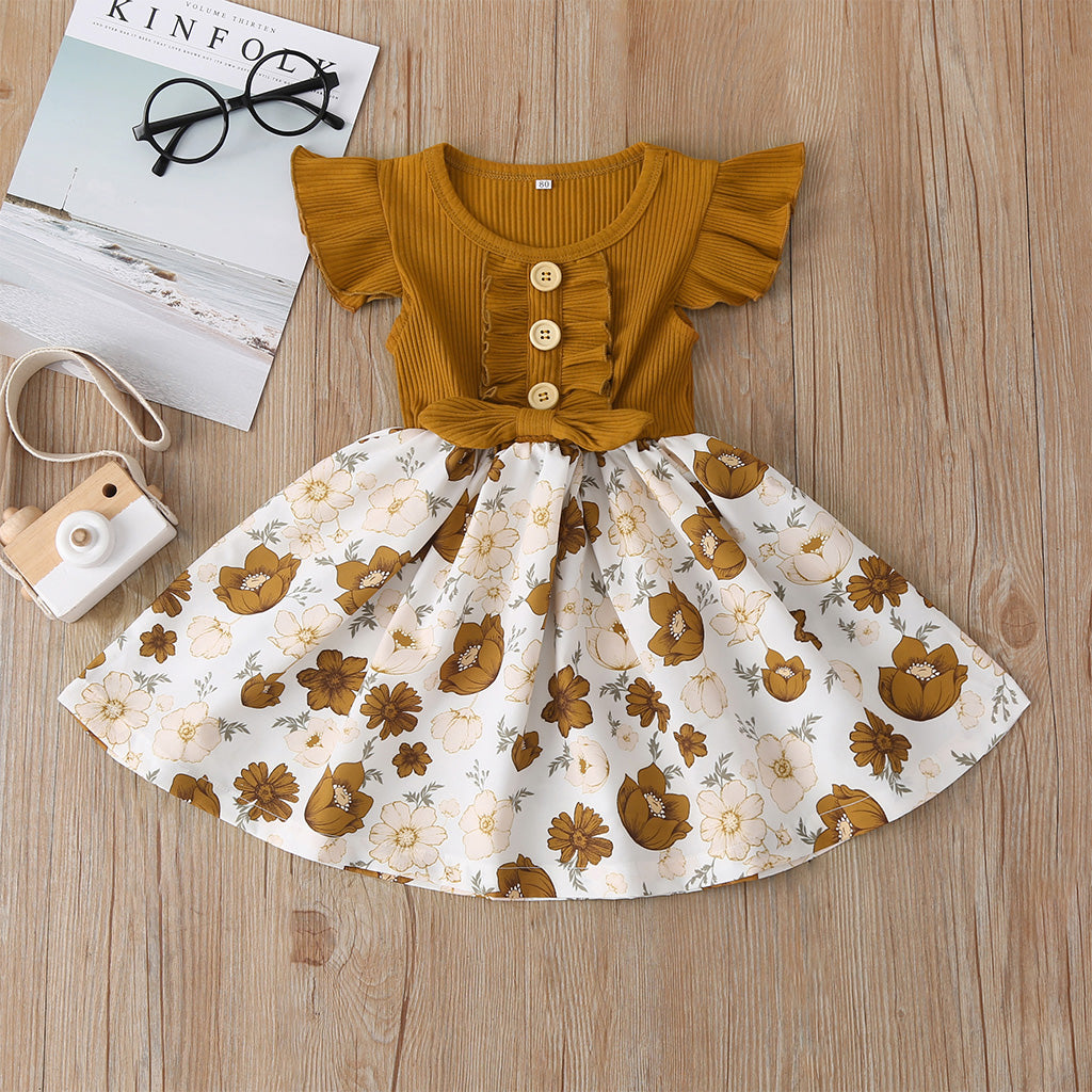 Baby / Toddler Girl Pretty Floral Print Ruffled Dress