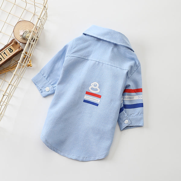 Dog Front Buttoned Lapel Shirt