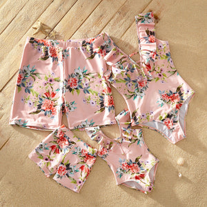 Ruffled Collar Floral Print Matching Swimsuits