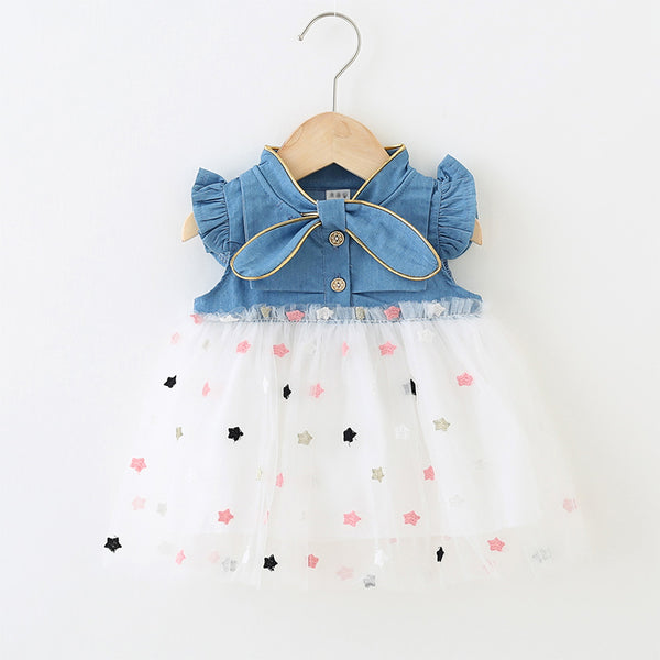 Baby Star Embroidered Denim Dresses