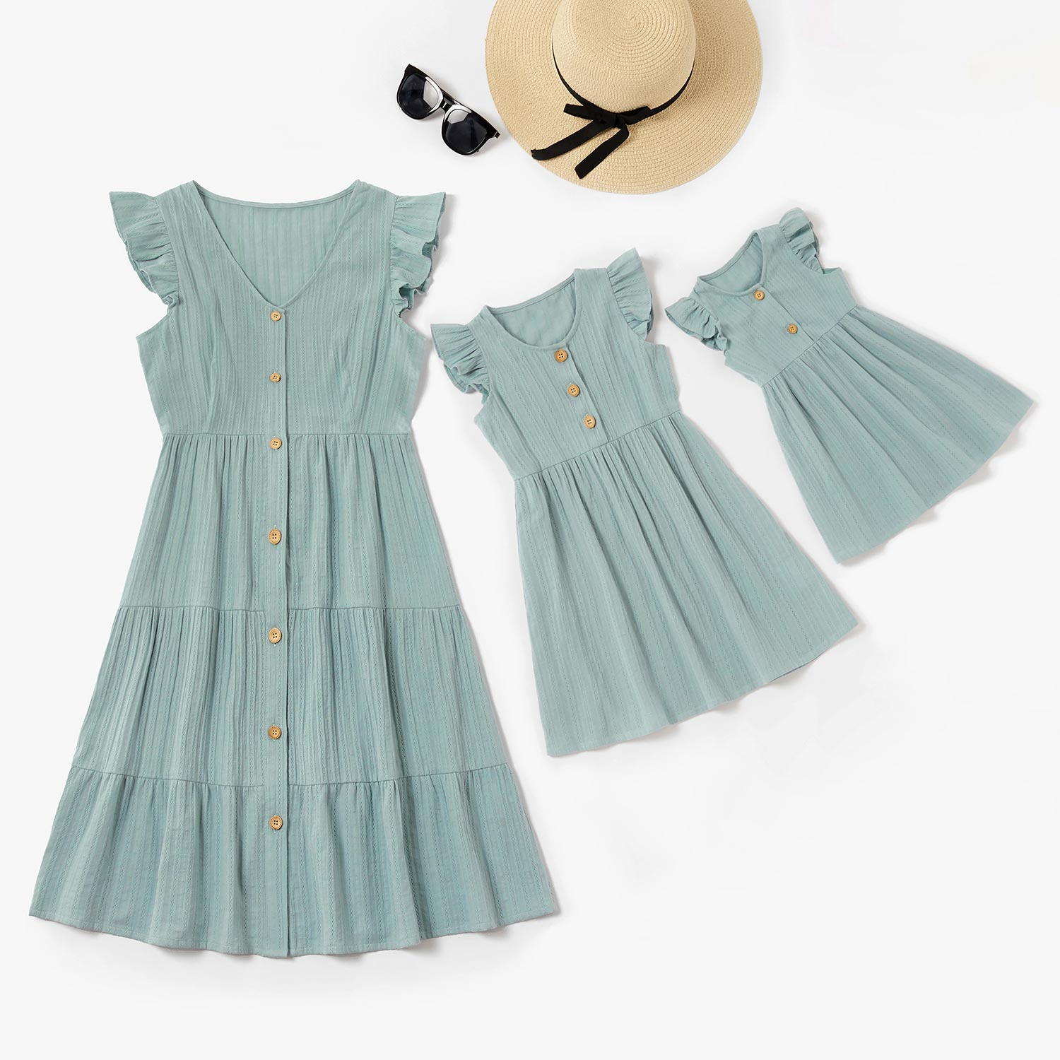 100% Cotton Solid Ruffle Matching Dresses