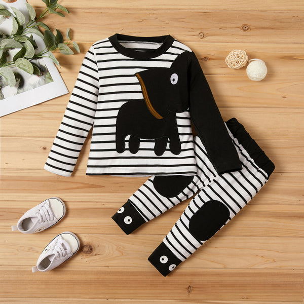 Elephant Applique Striped Top and Pants Set